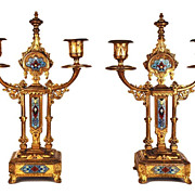 SOLD Pair of Antique Napoleon III Champleve Bougeoirs (Candlesticks)