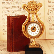 SOLD Antique Nineteenth Century Gilded Bronze Lyre Table Clock w/Marble Base