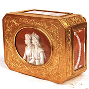 Exceptional Gilded Bronze Napoleon III Era Trinket Box w/signed Hand Painted Panels