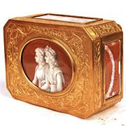 Exceptional Gilded Bronze Napoleon III Era Trinket Box w/signed Hand Painted Panels