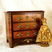 SOLD Antique French Miniature French Bureau w/ Gilded Metal Ormolu