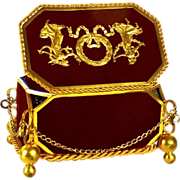 Antique Napoleon III Era Boite/Box with Enamel Inlay and Gilded Ormolu