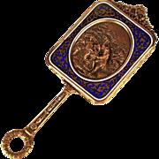 Rare Small Antique Napoleon III Champleve/Bronze Dore Miroir a Main (Hand Mirror) w/ Repousse