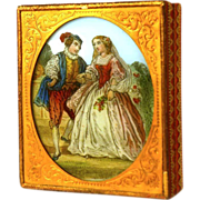 SOLD Antique Napoleon III Era Bon Bon Box with Eglomise Medallion