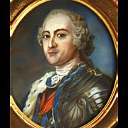 Fine Antique Nineteenth Century Full Size Framed Gouache Painting Louis XV