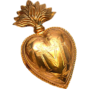 SOLD Large Antique Nineteenth Century French Gilded Brass Sacred Heart Reliquary Ex Voto