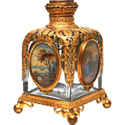 Large Antique Napoleon III Perfume Bottle with Four Large Gouache Medallions and Gilded Mounts