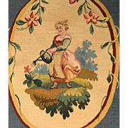 Antique Nineteenth Century Hand Worked Tapestry Oval Panel