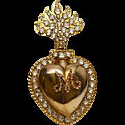 Large Antique Nineteenth Century Gilded Brass/Bronze Sacred Heart Ex Voto Reliquary