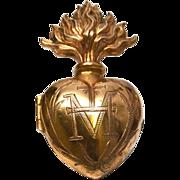Antique Nineteenth Century Gilded Brass French Sacred Heart Ex Voto