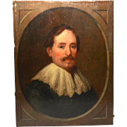 Antique Nineteenth Century Portrait Painted on Wooden Panel