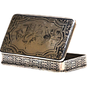 Fine Antique Nineteenth Century French Silver Neillo Snuff Tobacco Box