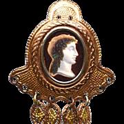 Antique Nineteenth Century Pomponne Chatelaine with Eglomise Portrait