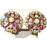 Schiaparelli Pink AB And Moonstone Signed Earrings