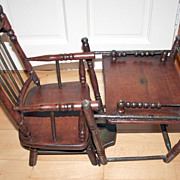 Victorian Rare and Unique Dolls Multi Purpose High Chair converts into Play Desk 19c Hard Wood