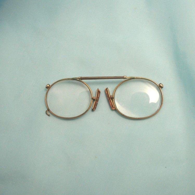 Antique Extending Bridge Pince Nez Magnifying Spectacles Eye Glasses 10k Gold Fill