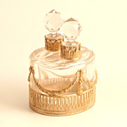 A Rare French Charles X 1830 Pair of Elliptical Scent Bottles  in Ormolu and Baccarat Crystal