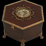 SOLD 1890 Paris Music Box and Jewelery Box Hexagonal with Print Miniature