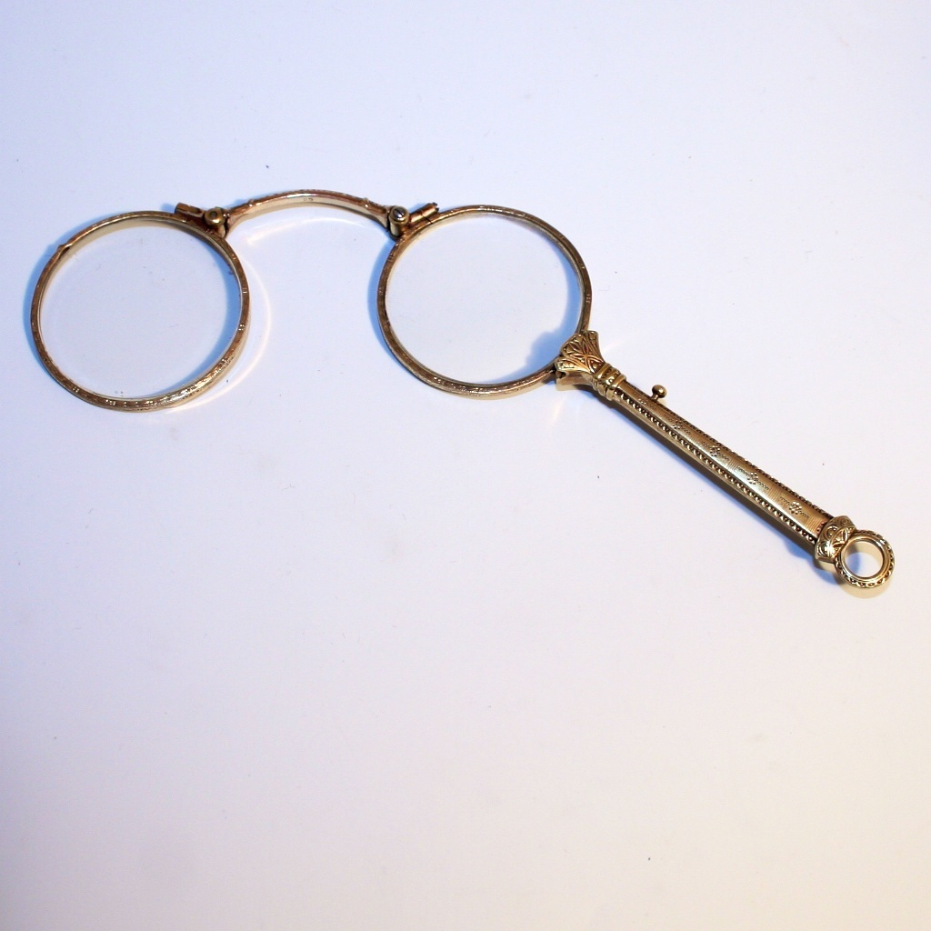 Antique 1880 French Double Gold Pendant Lorgnette Eye