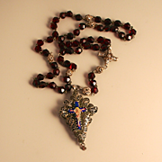 1800 Rosary Beads Filigree Silver Enamel Crucifix Cross and Gablonz Glass Beads South Central