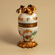 A French Jewellery  Egg in White Enamel Opaline dated to 1890