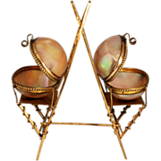 SOLD Palais Royal Paris Double Egg Jewellery Box Stand Mother of Pearl Ormolu - Red Tag Sale I