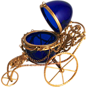SOLD Antique Palais Royal Gold Gilt Angels Pousette with Cobalt Blue Glass Jewellery Egg