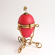 A Very Rare Palais Royal Pink Opaline French Fashion Doll Sewing Miniature Egg Accessory