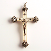 A Beautiful French Silver Crucifix Cross Mother of Pearl.