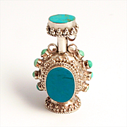 A Vintage Sterling 925 Silver Turquoise Scent Bottle Pendant