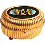 Napoleon III Period 1850 French Enamel and Gold Gilded Jewellery Casket