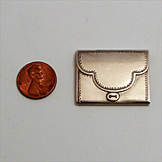 A Miniature Antique Silver Clutch Purse Dolls Accessory German 1880