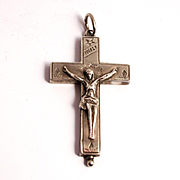 1880 Silver Arma Christi Reliquary Cross Crucifix French Saint Francis De Sales and Saint Jane