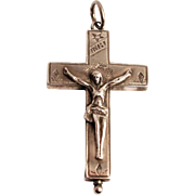 1880 Silver Arma Christi Reliquary Cross Crucifix French Saint Francis De Sales and Saint Jane
