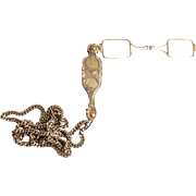 SOLD 1850 French Folding Silver Guilloche Lorgnette with Silver Chain Eye Glasses Spectacles O