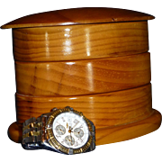 SOLD Men's Wooden Jewelry Box, Three Tiers, 1960's