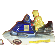 REDUCED Snowmobile Decanter, Ezra Brooks Bourbon, Maine, 1970's, Platinum Paint, Porcelain