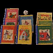 "Miniature 1949 Tom Thumb Books, Set of Seven, Rand McNally, Plus ""Rover"" Book,  Baby"