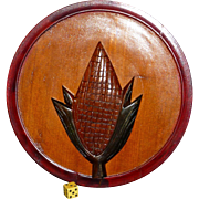 SOLD Vintage Cottage Plaques, Corn Maize, Carved Walnut Wood,  Hand painted