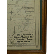 SOLD The Long Trail, Green Mountains, Vermont, Large 1919 Survey Map, Original, Green Mountain
