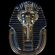 """SOLD Vintage Golden Mask of Tutankhamun, 22kt Gold Paint, 8"""" Bradford Plate #1, Splendour"""