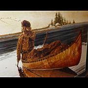 SALE BIG 3' Framed Ken Schmidt Signed Watercolor Print, Dawn's Early Light, Lone Star ...