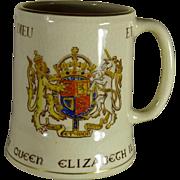 SALE Queen Elizabeth II Souvenir Coronation Coffee Cup, 1953, 18 Kt Gold Hand Painted Accents