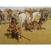 """SALE Reminton Stretched Canvas, From an 1800's Painting, """" Old Time Plains Fight """","""