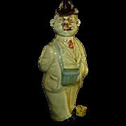 SALE Vintage Ca 1930's German Decanter, Hand Painted Porcelain, Walking Gentleman, Binoculars,