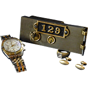 SALE Old Safety Deposit Box Lock Door, Solid Brass and Stainless Steel, Hamilton Ohio, Helling