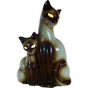 1950's Siamese Cat & Kitten, Retro TV Lamp, Ceramic by Kron of Texas, All Original ...