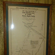 SOLD Long Trail Vermont, Framed Original 1918-21, Survey Map, Green Mountain Club, Camel's Hum