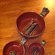 Vintage Mexican Pottery Bowl Set 3 pieces