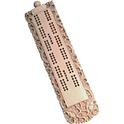 REDUCED Carved Bone Cribbage Board